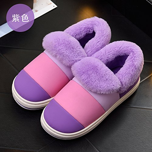 DogHaccd pantofole,Inverno pelle pu confezione impermeabile con cotone pantofole le coppie, gli uomini e le donne a rimanere spessa, antiscivolo caldi interni eleganti scarpe di cotone La porpora3