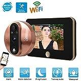 ASHATA Digitale Spioncino, 4,3 Pollici HD 1080P LCD WiFi Smart Video Campanello Digitale con Visione Notturna IR, 170 ° Angolo di Visione Telecamera di Sicurezza con App per Spessore Porta 40-105mm
