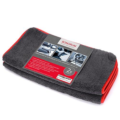 perfetto per pulire auto 2 pezzi doppio potere di assorbimento con 1.200 gsm BONORUM Panni in microfibra qualit/à professionale assoluta motociclette o arredamenti