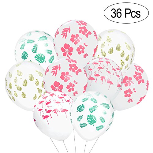 LUOEM Hawaiian Party Balloons, 36 Stück Luau Tropical Party Dekoration Flamingo Balloons Ananas Hibiscus Flower Balloons Sommer Beach Party Supplies