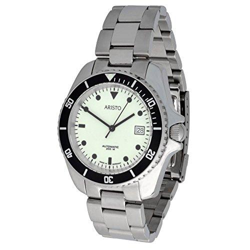 Aristo Unisex automatico Diver orologio modello 4h108tu Super Luminova quadrante in acciaio inox 20ATM Orologio svizzero ETA ottico