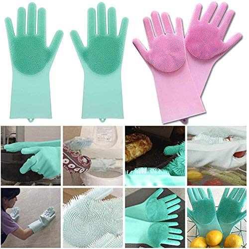 SHOPPOWORLD Silicone Non-Slip, Dishwashing and Pet Grooming, Magic Latex Scrubbing Gloves for Household Cleaning Great for Protecting Hands (Standard Size, Multicolour)