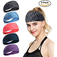 KQueenStar Men Womens Yoga Sports Wicking Headband - Sweatband & Head Wrap For Working Out,Running, Crossfit, Cycling