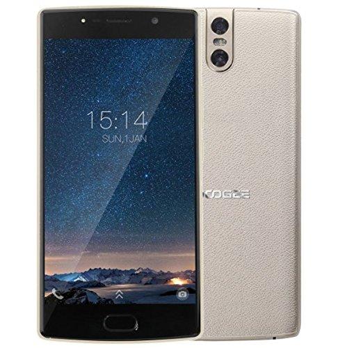 DOOGEE BL7000 - smartphone da 5,5 pollici FHD Android 7.0 con batteria 7060mAh, fotocamere triple (13MP + 13MP + 13MP), struttura in pelle + corpo in metallo, MTK6750T Octa Core 4GB RAM 64GB ROM, carica rapida 12V2A - Oro