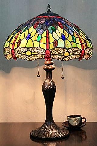 16 Zoll Libelle-Bead grüne Vintage Pastoral Luxus Europäische Tiffany Tischlampe Schreibtischlampe Nachttischlampe