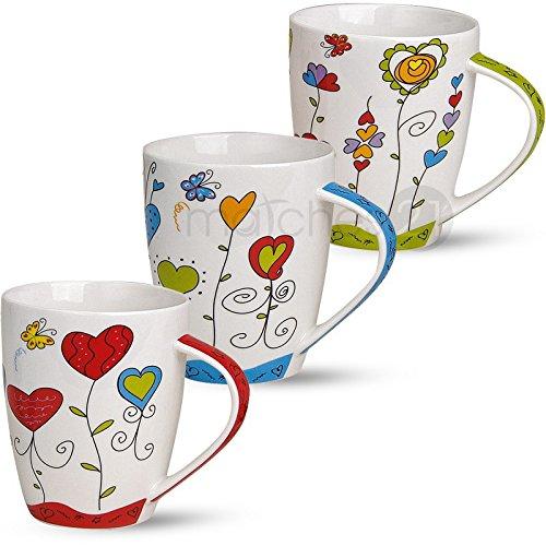 matches21 Tassen Becher Kaffeetassen Kaffeebecher Motiv buntes Herzdekor Blumen blau rot grün...