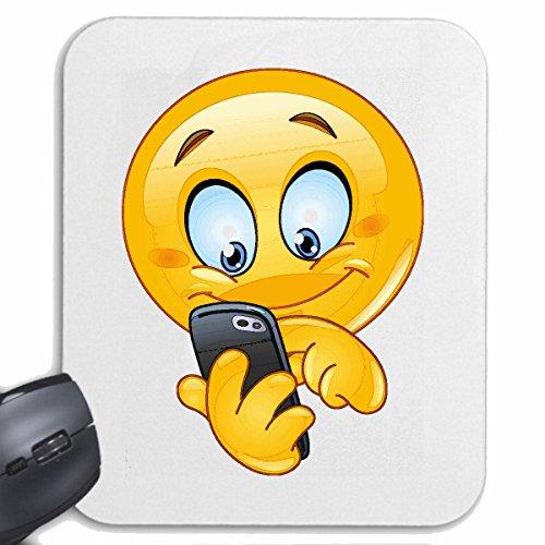 """Mousepad (Mauspad) \""""FRÖHLICHER SMILEY BEIM SMS SCHREIBEN \"""" SMILEYS SMILIES ANDROID IPHONE EMOTICONS IOS GRINSEGESICHT EMOTICON APP\"""" für ihren Laptop, Notebook oder Internet PC .. (mit Windows Linux usw.) in Weiß"""