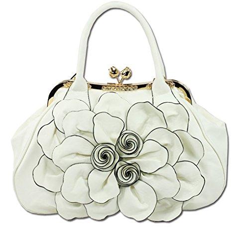 KAXIDY Handtasche Damentasche Blumentasche Crossbody Tasche Schultertasche Handtasche Hochzeit Tragetaschen (Rosa) Weiß