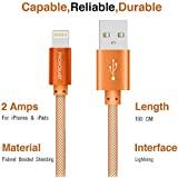 Phonokart MSD Fishnet Apple iPhone Lightning Cable for Apple Devices up to 2 Amps iPhone Cable- 1 Metre (Orange)