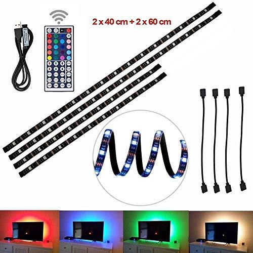 Striscia LED,Striscia LED TV Backlight striscia Alimentazione USB Multi Color 200CM RGB Tape cambiare colore con 44 tasti Telecomando per 32'a 60' Schermo piatto LCD HDTV e PC deskto