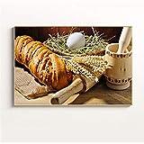 zgmtj Pintura de Alimentos Pan de Trigo Café Arte de la Pared Imagen Cocina Decoración Carteles y Grabados nórdicos Vajilla Pintura de Pared Lienzo