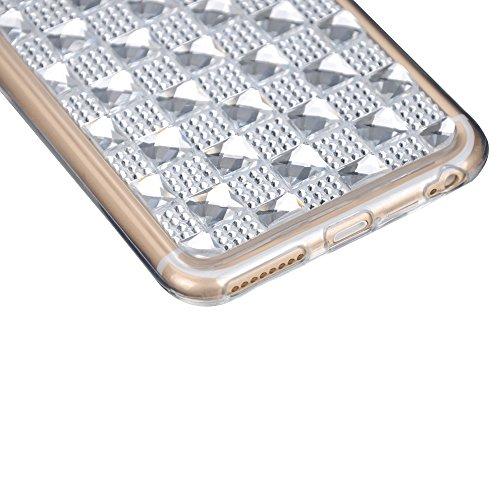 Cuitan Transparente Diamant Weiche Flexible TPU Schutzhülle Handyhülle Hülle für Apple iPhone 6 / 6S, Rückseitige Abdeckung Back Case Cover Shell / Telefonkasten für Mädchen / Frauen / Damen - Schwarz Silber + Transparente