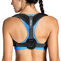 Tomight Back Posture Corrector, Adjustable Shoulder Posture Brace for Upper Back, Neck and Shoulder, Clavicle Support Brace for Men & Women to Improve Posture, Breathable, Lighter and Black