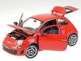 Fiat 500 Abarth 2007 rot Modellauto 79168 Motormax 1:18