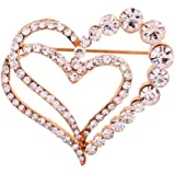 Yazilind Jewellery Alloy Glaring Crystal Pretty Loving Heart Brooches and Pins Vintage for Women & Girls