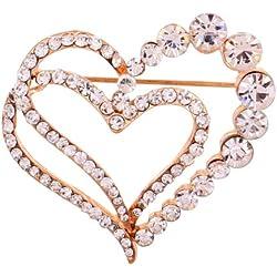 Yazilind Damen Mädchen-Brosche Legierung Glaskristalle Herzform Anstecknadel Vintage-Stil