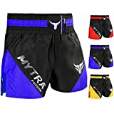 Mytra Fusion Pro Boxing Shorts Combat Shorts for Boxing MMA Muay Thai Fight Shorts Gym Training Workout Bjj Thai Trunks Satin Black Red Blue Shorts Mix Martial Arts Cage Fighting Grappling Sparring Training Punching Kick Boxing Shorts (X-Large, Black Blue)