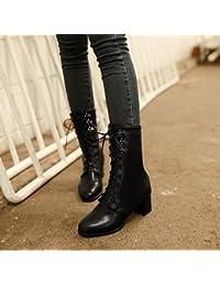 &ZHOU Botas otoño y del invierno botas cortas mujeres adultas 'Martin botas botas Knight A5-3 , black , 40