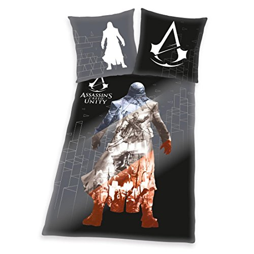 Biancheria da letto Assassins Creed, 1 x federa 80 x 80 cm e 1 copripiumino 135 x 200 cm, 100% cotone, con chiusura lampo