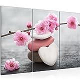 Bilder Feng Shui Blumen Wandbild 120 x 80 cm Vlies - Leinwand Bild XXL Format Wandbilder Wohnzimmer Wohnung Deko Kunstdrucke Pink 3 Teilig -100% MADE IN GERMANY - Fertig zum Aufhängen 500131a