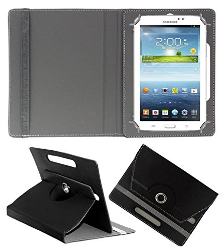 Acm Rotating 360° Leather Flip Case For Samsung Galaxy Tab 3 T211 P3200 P3210 Tablet Cover Stand Black  available at amazon for Rs.149