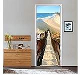 ksufnjerls Fai da Te Pannelli Scala per Ocean Beach Immagine Adesivi Murali Adesivi Murali Porta Adesivo Carta da Parati Decalcomanie Decorazione della Casa 77x200cm