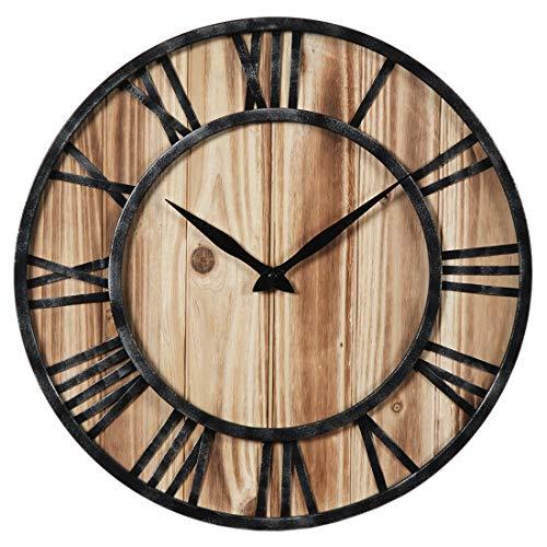 Haunen 23,6Zoll (60cm) Wanduhr Vintage ohne Tickgeräusche Wanduhr Holz Groß Uhr Uhren Wall Clock für Wohnzimmer, Schlafzimmer, Kinderzimmer, Büro, Cafeteria und Restaurant