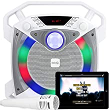 RockJam RJPS100 Singcube 12 Watt Rechargeable Bluetooth Karaoke Machine with Lights Voice Changer and Microphone