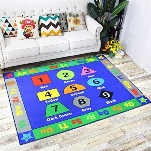FLOWood Kinder Spiel Teppich Kinder lernen Teppich mit Grafik, Zahlen und ABC, Bildungsbereich Teppich für Schlafzimmer und Spielzimmer, sicher und Spaß Spielzeit Teppich für Kinder Schlafzimmer (Lernen Teppiche Für Kinder)