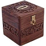 VISHAL INDIA CRAFT Handcraft Wooden Money Bank, Coin Holder, Piggy Bank (Brown)