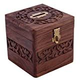 #1: VISHAL INDIA CRAFT Handcraft Wooden Money Bank, Coin Holder, Piggy Bank (Brown)