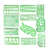 Artstore, set di 11 mascherine per stencil da disegno, in plastica, con righello, strumenti da disegno, forme, triangolo, ovale, indicazioni matematiche, per bambini, casa, scuola e ufficio