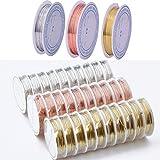 (Durchmesser von 0,2mm bis 1,0mm) 3Stück Schmuckdraht anlaufgeschützt Kupfer Draht für Basteln und Schmuckherstellung, 0.5MM x 7Meters