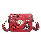 Honeymall Damen Schmetterling Stickerei Kleine quadratische Tasche Damentasche Schultertasche Umhängetasche bunte Nieten(Rot)