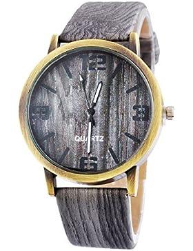 Souarts Damen Grau Streifen Uhr Armbanduhr Quartz Analog mit Batterie