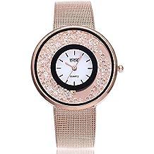 Uhren DELLIN V212 Damen Beiläufige Bælte Quarz Edelstahl Band Marmorband Uhr analoge Armbanduhr (Roségold)