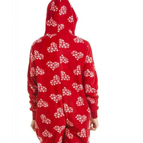 Pigiama intero in pile morbido - motivo fiocco di neve - rosso e bianco Rosso