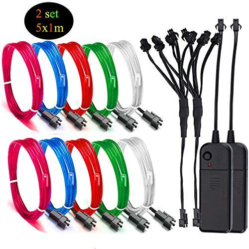 Sunboia EL-Drähte,2set 5×1M Fünf-Farben Neon EL Wire