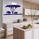 INDIGOS 4052166117906 Wandtattoo w556 Afrika/Steppe, Elefant Nashorn Wandaufkleber 80 x 42 cm, blau
