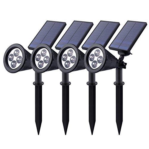 Roleadro Luci Solari Lampada LED Illuminazione Giardino Esterno con Auto-On/Off Sensore IP65 2W 200LM LED Faretti Esterna Wireless per Patio Giardino 4 Pezzi - giardino decorazione esterna e Patio