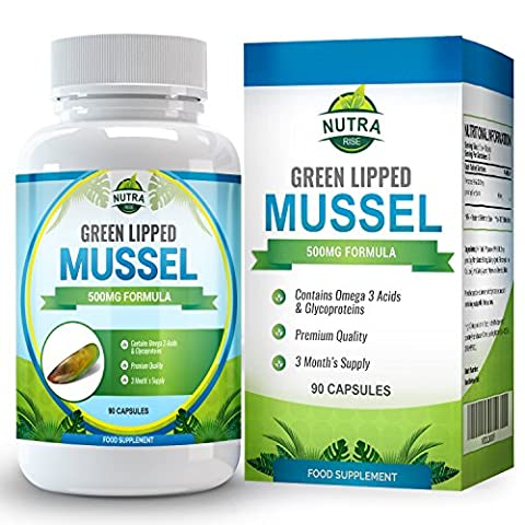 Extrait de Moule Verte, complément haute puissance qui favorise des articulations et un système immunitaire en bonne santé, aide à maintenir la mobilité articulaire, 500mg - 90 Capsules