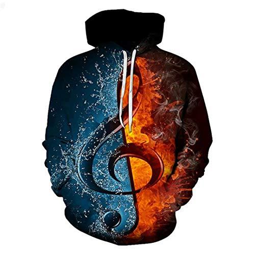izen Tee Patchwork Sweatshirts Hoodie Hip Hop Streetwears Muscial Notes XXL ()