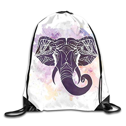 EELKKO Drawstring Backpack Gym Bags Storage Backpack, Watercolor Portrait of Elephant Head Featured Asian Tribal Myth Character,Deluxe Bundle Backpack Outdoor Sports Portable Daypack Deluxe Lion Head