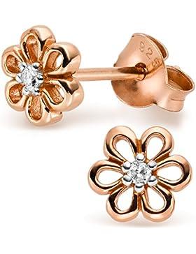 SILV Blumen Ohrringe rosegold mit Zirkonia Ø7mm - 925 Silber Ohrstecker Blume Silber vergoldet #SV-107-SRG