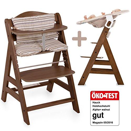 Hauck Alpha Newborn Set - Baby Holz Hochstuhl ab Geburt mit Liegefunktion / inkl. Aufsatz für...