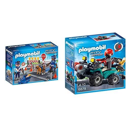 Playmobil 6878 - Polizei-Straßensperre &  6879 - Ganoven-Quad mit Seilwinde