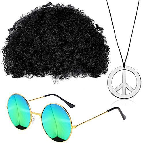 Steerfr 60/70 / 80s Disfraces Hombres Afro Wig Set