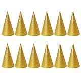 TOYMYTOY Cappelli per Feste di Compleanno Cappelli a Cono Cappellini da Festa per Bambin e Adulto (Dorato ) - 12 Pezzi