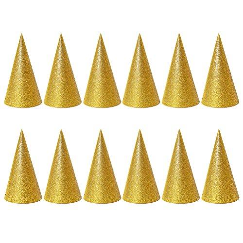 NUOLUX 12 Stücke Gold Kegel Hüte Glitter Dreieck Geburtstag Party Hüte für Kinder und Erwachsene (Machen Sie Es Selbst Baby-halloween-kostüme)