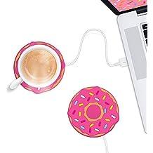 Mustard Freshly Bake Donut - Posavasos Calentador de Tazas USB, Color Rosa